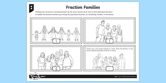 Fraction Families Differentiated Activity Sheets - fraction, equivalent, equivalent fractions, equal, equal fractions