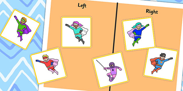 Left or Right Sorting Activity with Superheroes - left, right, superheroes, super