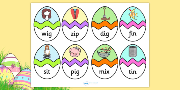CVC I Words Easter Egg Matching Activity - CVC, easter, match