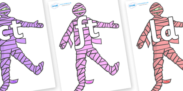 Final Letter Blends on Mummies (Multicolour) - Final Letters, final letter, letter blend, letter blends, consonant, consonants, digraph, trigraph, literacy, alphabet, letters, foundation stage literacy
