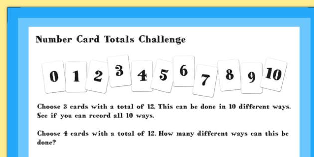 A4 KS1 Number Card Totals Maths Challenge Poster - Maths, Poster