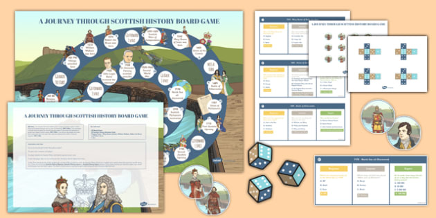 Journey Through Scottish History Board Game Pack - cfe, journey, scottish, history, board game, pack