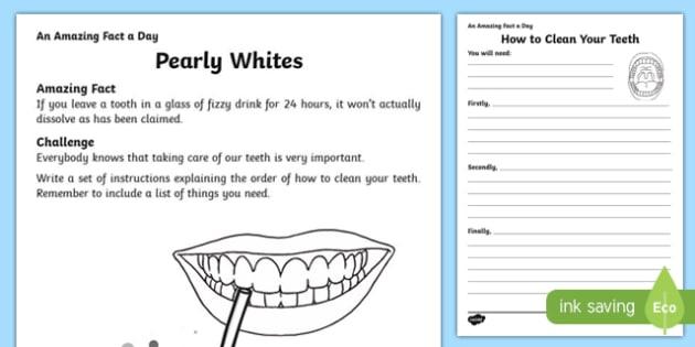 Pearly Whites Activity Sheet, worksheet