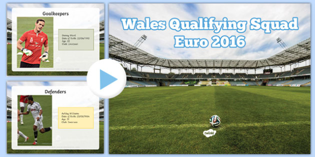 Wales Qualifying Squad for the EURO 2016 Tournament Fact File PowerPoint - welsh, cymraeg, Wales Euro 2016, Welsh Squad, Fact File