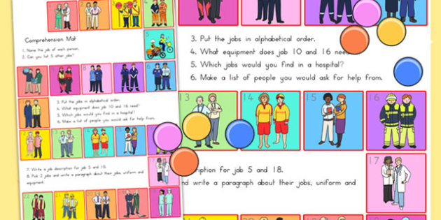People Who Help Us Comprehension Mat - comprehend, word mat
