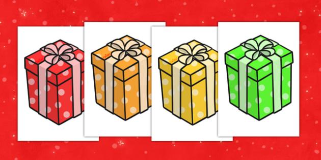 Christmas A4 Editable Presents - christmas, xmas, presents, display, display presents, display present, display images, boxes, wrapped boxes, christmas presents, picture of christmas presents, editable display images, editable images, display picture