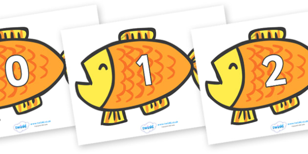 Numbers 0-31 on Goldfish to Support Teaching on Brown Bear, Brown Bear - 0-31, foundation stage numeracy, Number recognition, Number flashcards, counting, number frieze, Display numbers, number posters