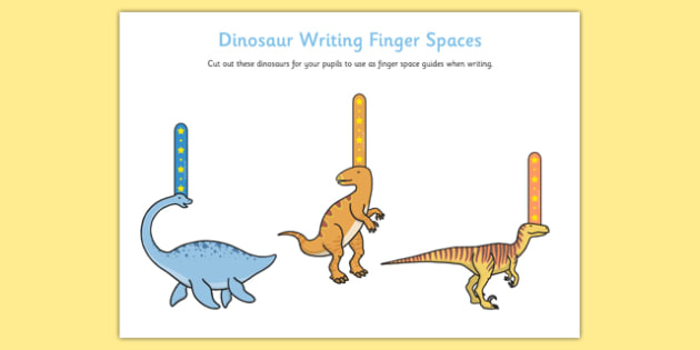 Dinosaur Writing Finger Spacers - dinosaur, writing, finger spacers, write, handwriting