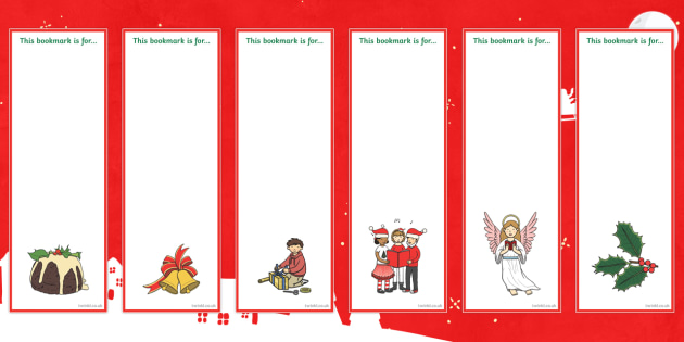 Editable Christmas Bookmarks - Christmas, Xmas, Bookmark