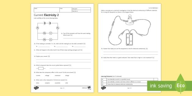 KS3 Current Electricity 2 Homework Activity Sheet - Homework, electricity, current, voltage, potential difference, series, parallel, worksheet, resistan