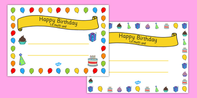 General Happy Birthday Certificates Romanian Translation - romanian, general, happy birthday, certificates