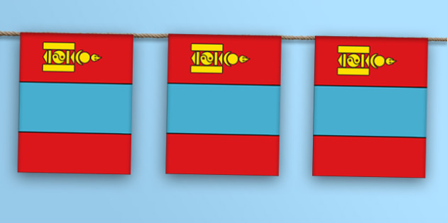 Mongolia Flag Bunting - mongolia flag, mongolia, flag, bunting, display bunting, display