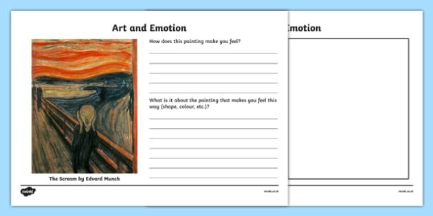 Art and Emotion Activity Sheet, worksheet