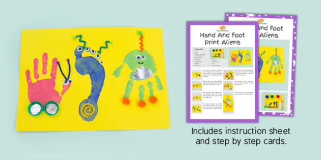 Hand And Foot Print Aliens Craft Instructions - prints, activity