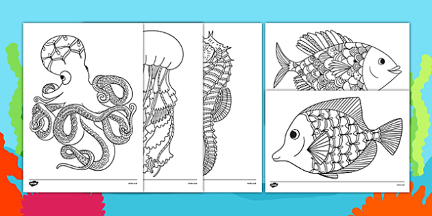 Under the Sea Themed Mindfulness Colouring Sheets - underwater,  under the sea, mindfulness, colouring sheets, colouring, sheets, colour