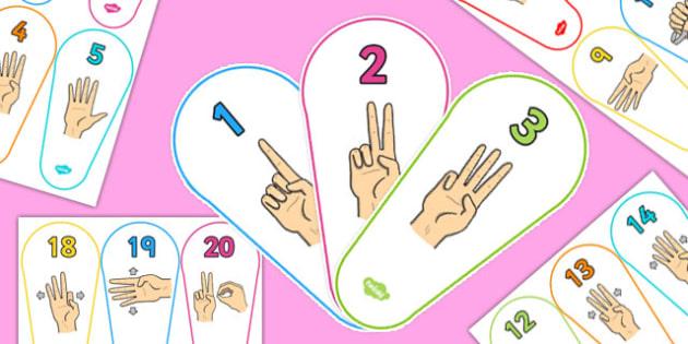 British Sign Language 0-20 Number Fan (Signer's View) - number fan, sign language