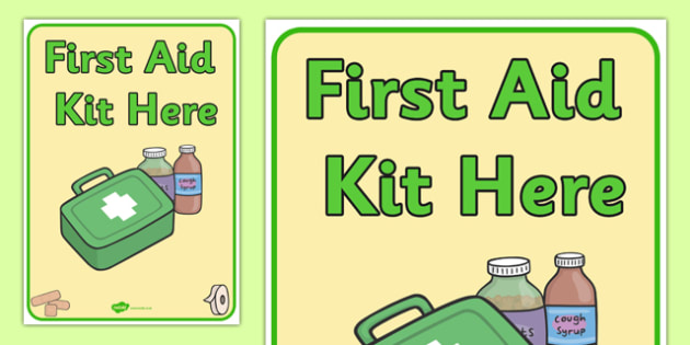 First aid Kit Here Poster - first aid kit, first aid kit poster, first aid kit here display poster, first aid kit location poster, people who help us, aid