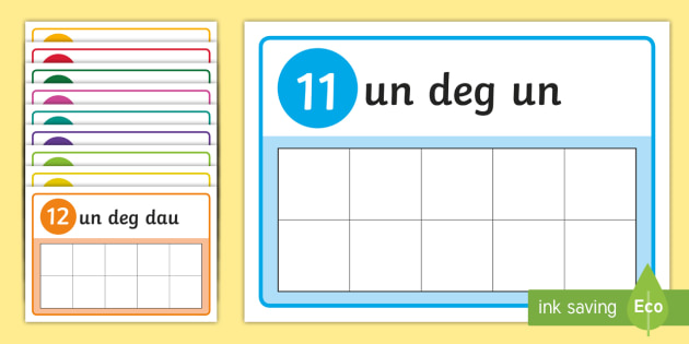 11 to 20 in Welsh Number Frame Playdough Mats - Welsh Second Language Display Resources, Welsh Display, Welsh, Number Frames, Counting, Rhifo, Playd