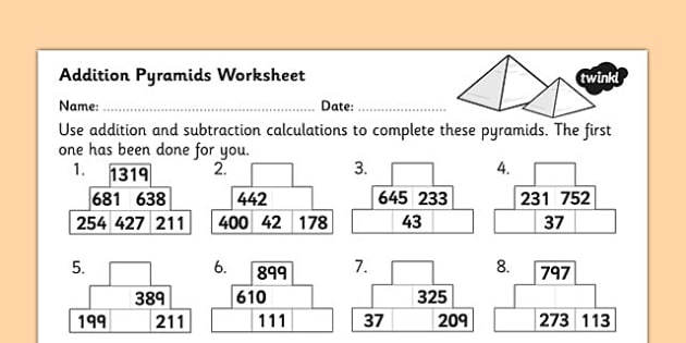 Addition Pyramids Worksheet 2 addition pyramids addition – Ks2 Addition Worksheets