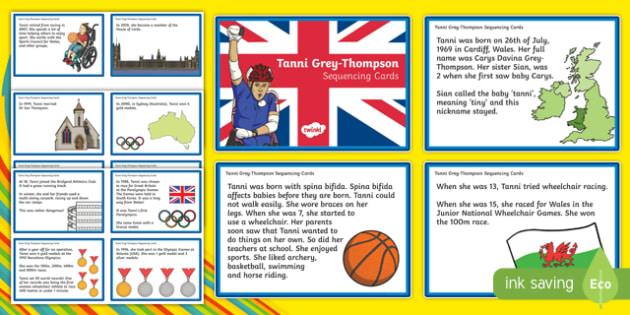Famous Welsh Women Tanni Grey-Thompson Sequencing Cards - Tanni Grey-Thompson, Paralympian, Medals, Sequencing information