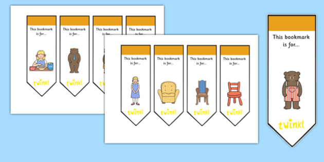 Goldilocks and the Three Bears Editable Bookmarks - goldilocks and the three bears, editable, editable bookmark, bookmarks, bookmark awards, reward bookmarks