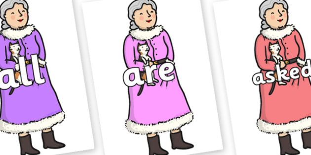 Tricky Words on Mrs Clause to Support Teaching on The Jolly Christmas Postman - Tricky words, DfES Letters and Sounds, Letters and sounds, display, words