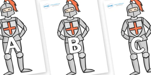 A-Z Alphabet on Knights - A-Z, A4, display, Alphabet frieze, Display letters, Letter posters, A-Z letters, Alphabet flashcards