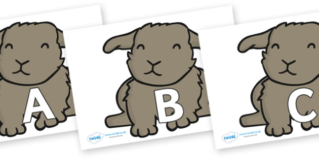 A-Z Alphabet on Rabbits - A-Z, A4, display, Alphabet frieze, Display letters, Letter posters, A-Z letters, Alphabet flashcards