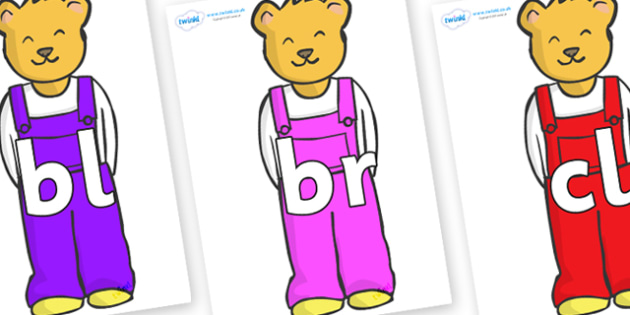 Initial Letter Blends on Bears to Support Teaching on Whatever Next! - Initial Letters, initial letter, letter blend, letter blends, consonant, consonants, digraph, trigraph, literacy, alphabet, letters, foundation stage literacy