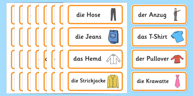 Clothes Shop Word Cards German - german, Clothes shop Role Play, clothes shop resources, shop, till, buy, money, clothes, ourselves, shoes, role play, display, poster, Word cards, Word Card, flashcard, flashcards