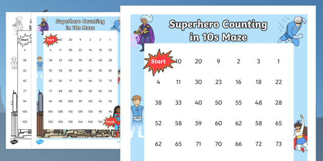 Superhero Themed Counting in 10s Maze - superheroes, count, maze