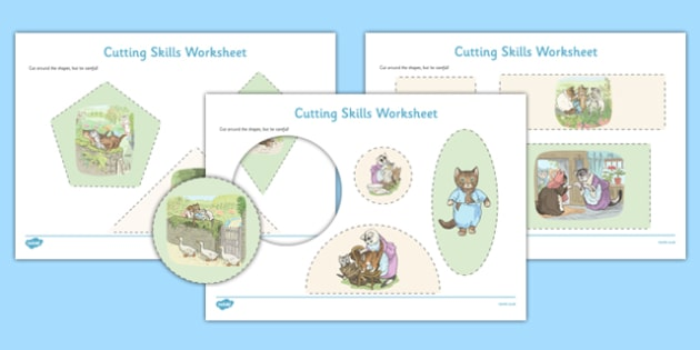 Beatrix Potter - The Tale of Tom Kitten Cutting Skills Worksheet - beatrix potter, tom kitten