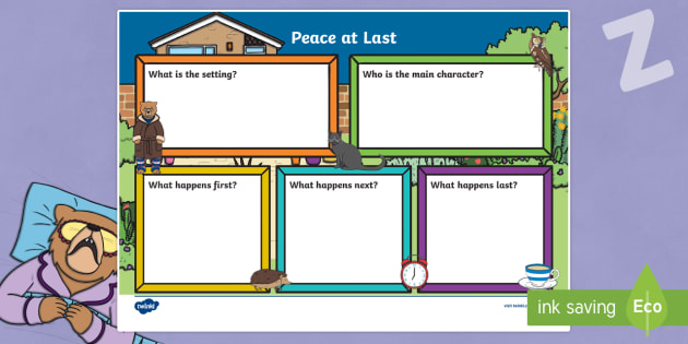 Peace at Last Book Review Writing Frame - peace at last, book review, writing frame, book review writing frame, writing aid, writing template, writing