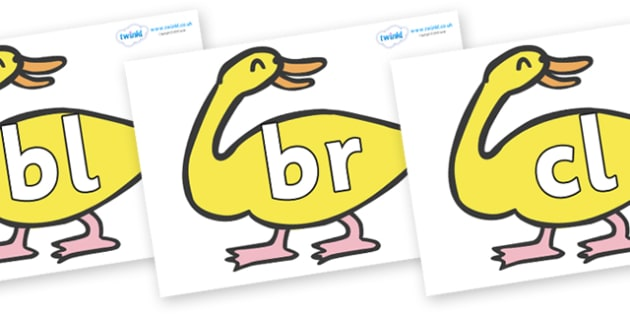 Initial Letter Blends on Yellow Duck to Support Teaching on Brown Bear, Brown Bear - Initial Letters, initial letter, letter blend, letter blends, consonant, consonants, digraph, trigraph, literacy, alphabet, letters, foundation stage literacy