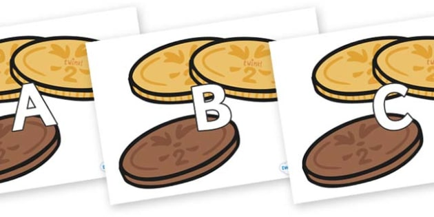 A-Z Alphabet on Chocolate Coins - A-Z, A4, display, Alphabet frieze, Display letters, Letter posters, A-Z letters, Alphabet flashcards