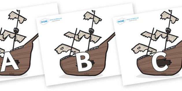 A-Z Alphabet on Shipwrecks - A-Z, A4, display, Alphabet frieze, Display letters, Letter posters, A-Z letters, Alphabet flashcards