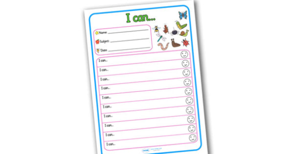 Themed Target and Achievement Sheets Minibeast Themed I Can - Target and Achievement Sheet, I Can Sheet, Target Sheet, Minibeast Themed