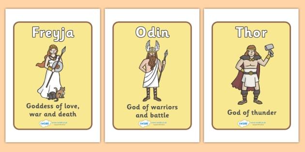 Viking Gods Display Posters - Vikings, display, gods, god, poster, England, history, banner, sign, longboat, Freyja, Odin, Thor, Frey, Loki, Norse, Norway, Wessex, Danelaw, York, thatched house, shield