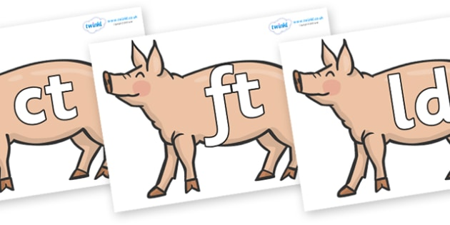 Final Letter Blends on Pigs to Support Teaching on Pig in the Pond - Final Letters, final letter, letter blend, letter blends, consonant, consonants, digraph, trigraph, literacy, alphabet, letters, foundation stage literacy