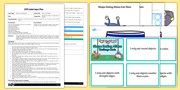 EYFS Aliens Love Shapes Adult Input Plan and Resource Pack to Support Teaching on Aliens Love Underpants