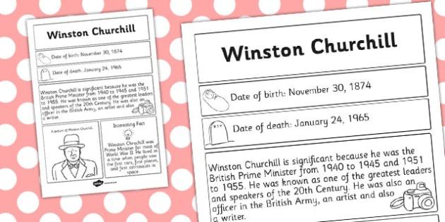 Winston Churchill Significant Individual Fact Sheet - fact sheet