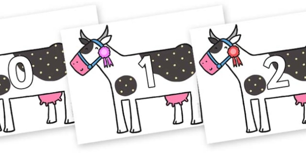 Numbers 0-31 on Cow to Support Teaching on What the Ladybird Heard - 0-31, foundation stage numeracy, Number recognition, Number flashcards, counting, number frieze, Display numbers, number posters