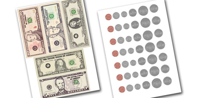 American Money Cut Outs - Scholar Dollars Template. Money