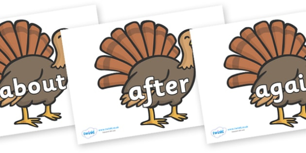 KS1 Keywords on Turkeys - KS1, CLL, Communication language and literacy, Display, Key words, high frequency words, foundation stage literacy, DfES Letters and Sounds, Letters and Sounds, spelling