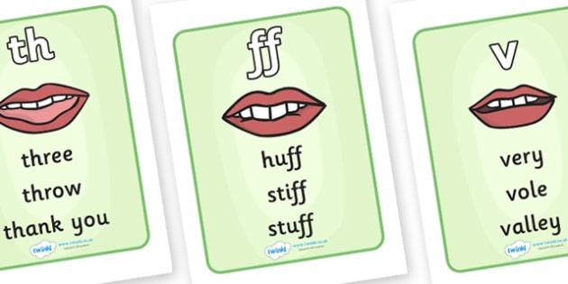 Th, ff and v Pronunciation Aids - pronunciation, aid, 'v', 'ff', difference, pronunciate, sounds, SEN, EAL, difficult words, difficult sounds, sound formation, mouth