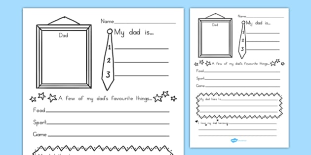 Fathers Day About My Dad Handwriting Lines - writing template