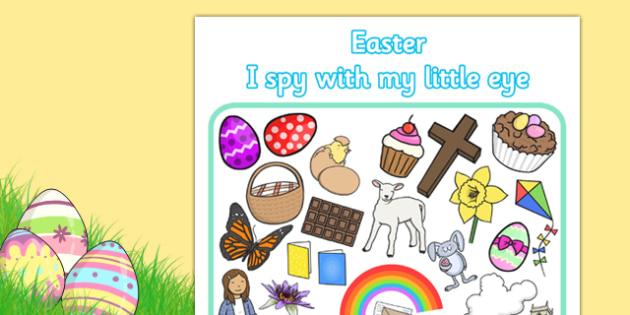 Easter Themed I Spy With My Little Eye Activity - easter, I spy