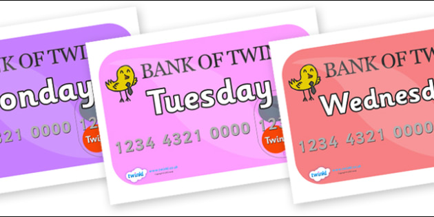 Days of the Week on Debit Cards - Days of the Week, Weeks poster, week, display, poster, frieze, Days, Day, Monday, Tuesday, Wednesday, Thursday, Friday, Saturday, Sunday