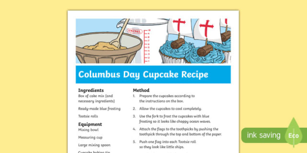 Columbus Day Cupcake Recipe