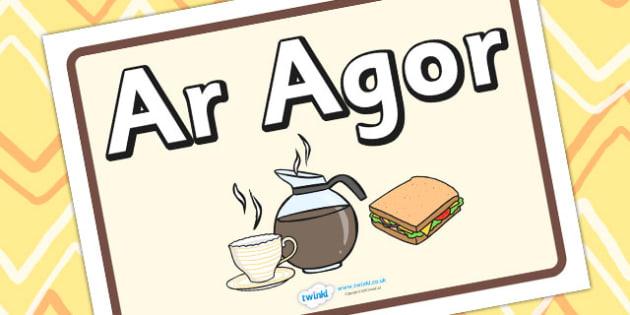 Arwydd Ar Agor 'Caffi' - EAL, language, roleplay, props
